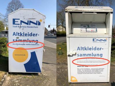 Regionale Altkleidercontainer für niedrige Gebühren der Ennidienstleistungen