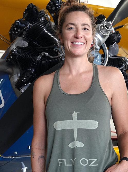 Women's Flowy Racerback Tank (Olive)