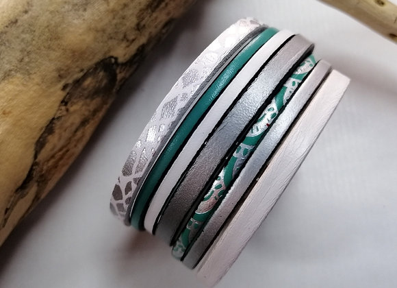 """Bracelet """"GAUGUIN"""", blanc, argenté et turquoise"""
