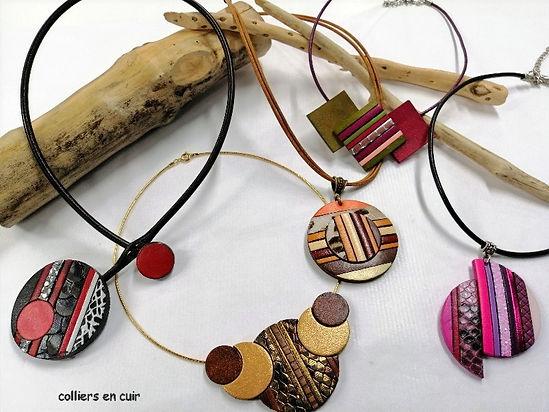 colliers en cuir travaillés façon mosaique en cuir