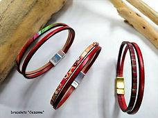 braceles en cuir, six mm de large, une laniére uni, et une laniére imprimé. fermoir Zamac aimanté