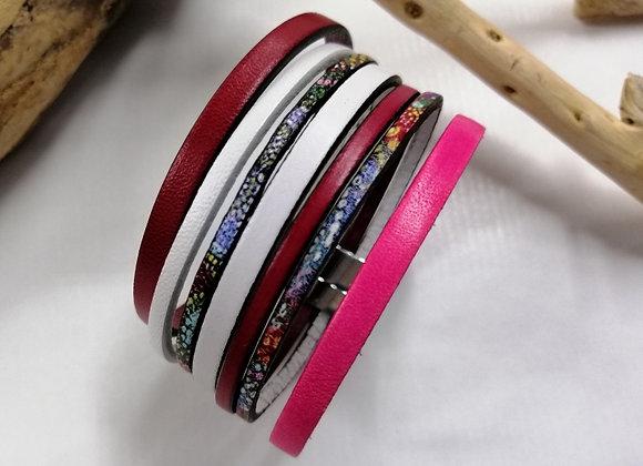 "Bracelet ""GAUGUIN"" rose, blanc et multicolore!"