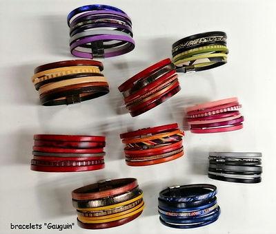 """bracelets """"GAUGUIN"""" en cuir de vachette, tannage végétal, 3 cm de large"""