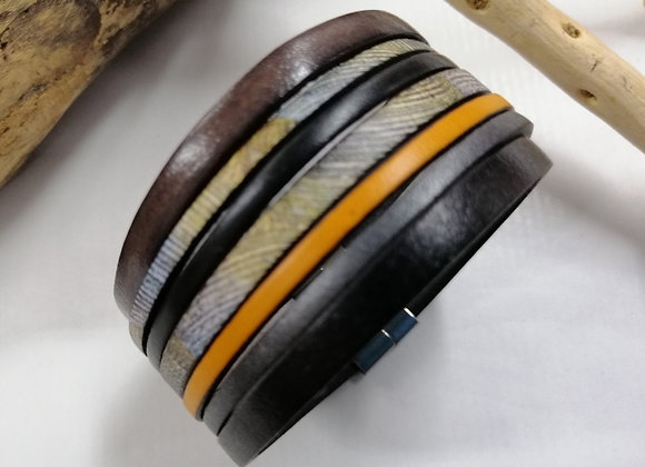 """Bracelet """"GAUGUIN"""" cuirs noir, gris et jaune."""