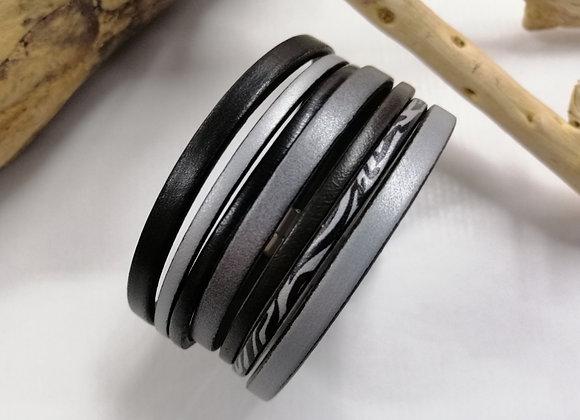 """Bracelet """"GAUGUIN"""" noir et argent, très chic!"""