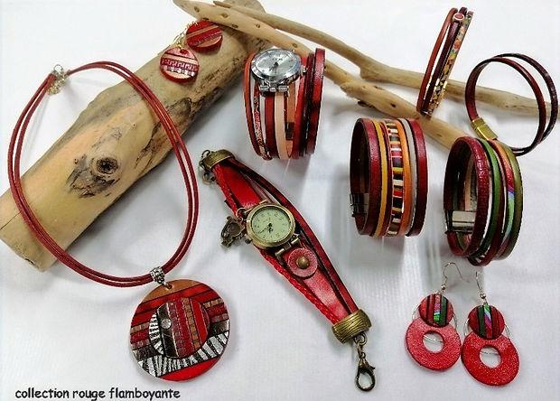 collier, montres bijoux  bracelets et boucles d'oreilles en rouge et multicolore, flamboyante