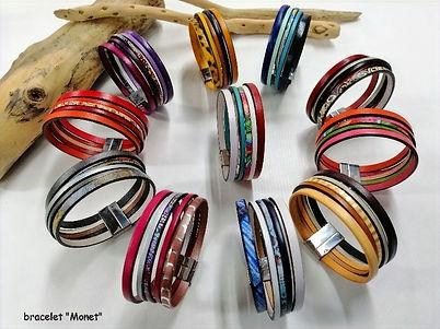 bracelet cuir de vachette, tannage végétal, fermoir en acier aimanté couleurs chatoyantes et multicolores