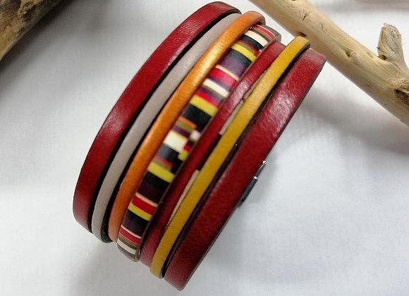 "Bracelet ""GAUGUIN"" en cuir rouge et jaune!"