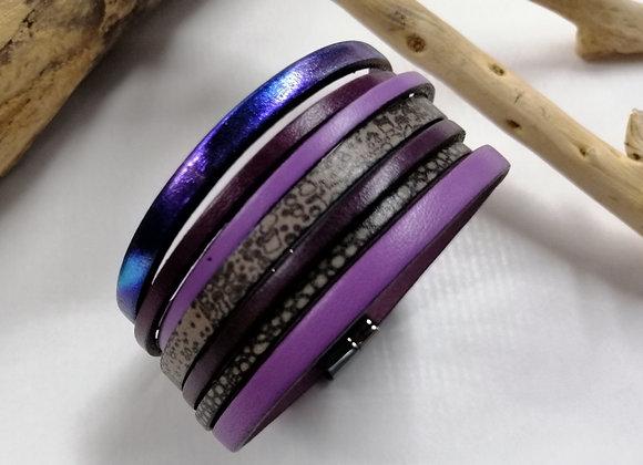 """Bracelet """"GAUGUIN"""" mauve, violet, très tendance!"""
