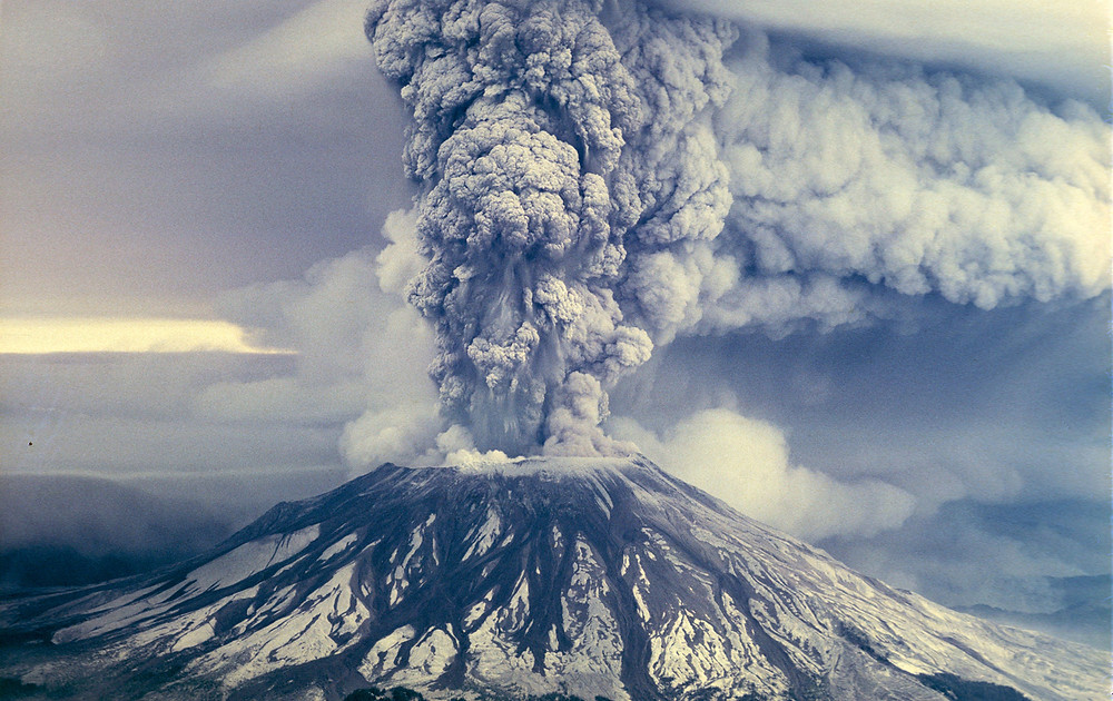 Still shot of Mt. Saint Helens eruption