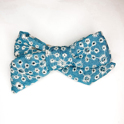 Light Blue Eyelet Fabric Bow On Soft Nylon Or Clip