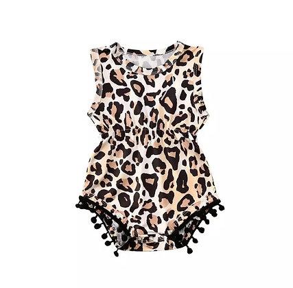 Leopard Pom Pom Romper