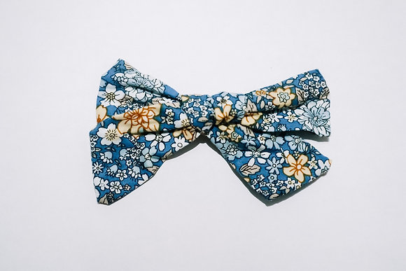 Blue Floral Bow (On Clip or Nylon)