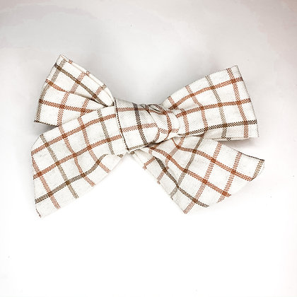 White Plaid Fabric Bow On Soft Nylon Or Clip