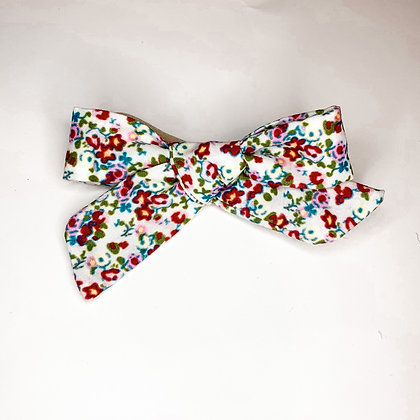 Red Floral Fabric Bow On Soft Nylon Or Clip