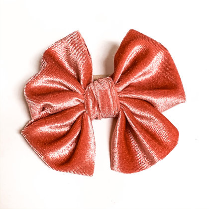 Pink Velvet Fabric Bow On Soft Nylon
