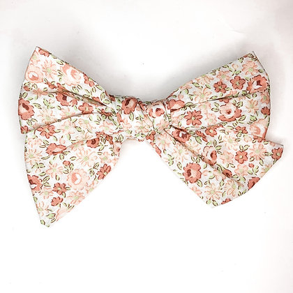 Peach Floral Fabric Bow On Soft Nylon Or Clip