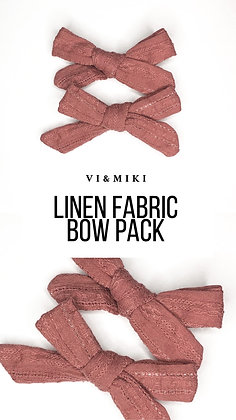 Mauve Linen Fabric Bow Pack On Clip