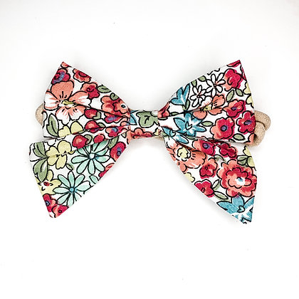 Colorful Floral Fabric Bow On Soft Nylon Or Clip