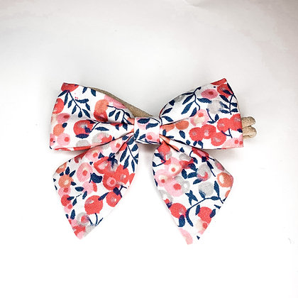Pink & Blue Floral Fabric Bow On Soft Nylon Or Clip