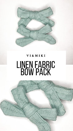 Gray Blue Linen Fabric Bow Pack On Clip
