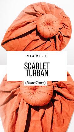 """Scarlet"" Turban In BURNT ORANGE (Milky Cotton)"