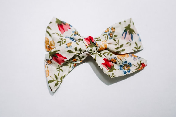 Colorful Floral Bow (On Clip or Nylon)