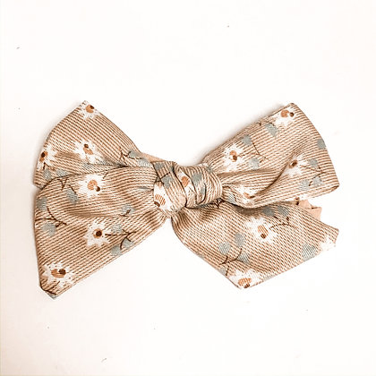 Beige Floral Fabric Bow On Soft Nylon