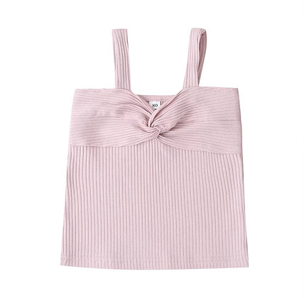 """CASSIE"" Ribbed Knot Top In Pink"