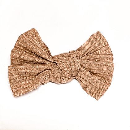 Beige Ribbed Fabric Bow On Soft Nylon