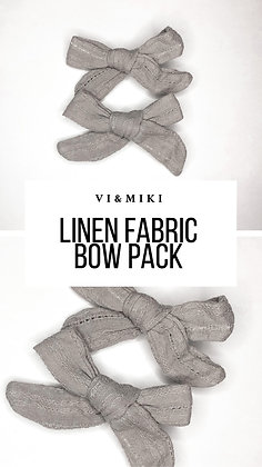 Gray Linen Fabric Bow Pack On Clip