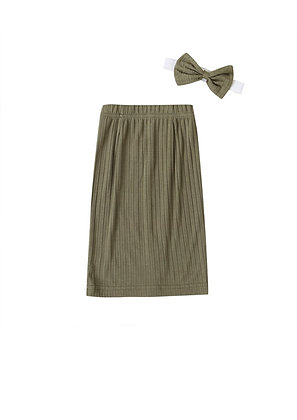 """KIERA"" Ribbed Maxi Skirt In Olive"