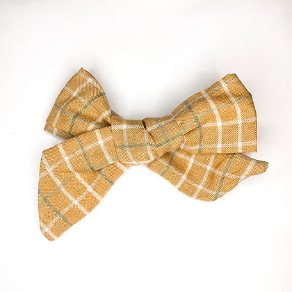 Mustard Plaid Fabric Bow On Soft Nylon Or Clip
