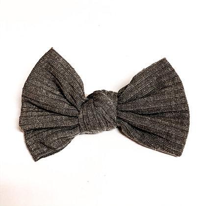 DarkGray Ribbed Fabric Bow On Soft Nylon