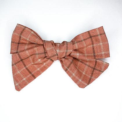 Rust Plaid Fabric Bow On Soft Nylon Or Clip