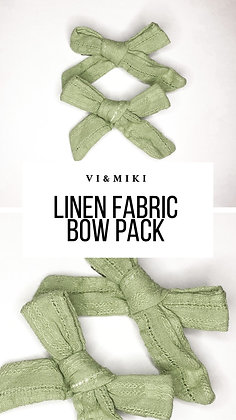 Mint Linen Fabric Bow Pack On Clip