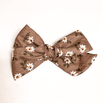 Brown Floral Fabric Bow On Soft Nylon
