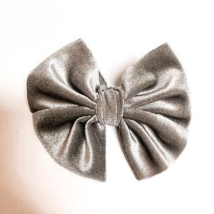 Silver Velvet Fabric Bow On Soft Nylon