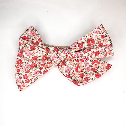 Pink Floral Bow On Soft Nylon or Clip