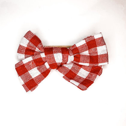 Red & White Plaid Fabric Bow On Soft Nylon Or Clip