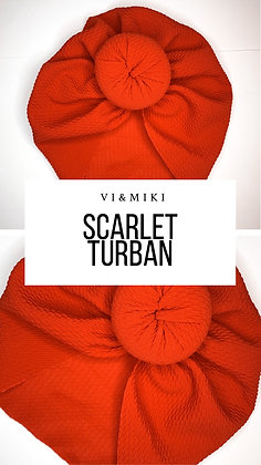 SCARLET Turban In Cherry Red (Waffle Material)