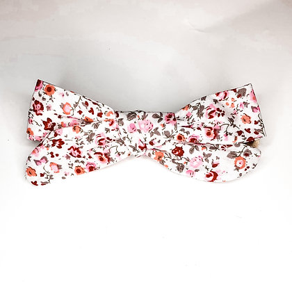 Pink & Red Floral Fabric Bow On Soft Nylon Or Clip