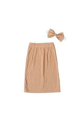 """""""KIERA"""" Ribbed Maxi Skirt In Nude"""