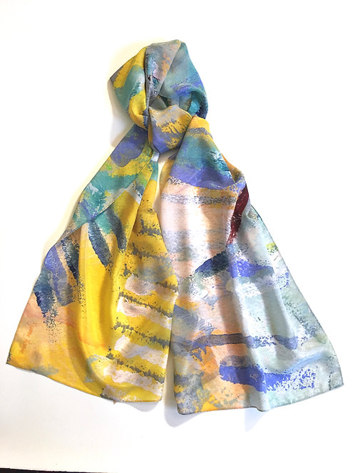 Into the Light Long Wide Silk Crepe de Chine Scarf