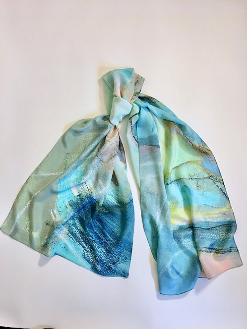 Seascape Long Wide Silk Crepe de Chine Scarf