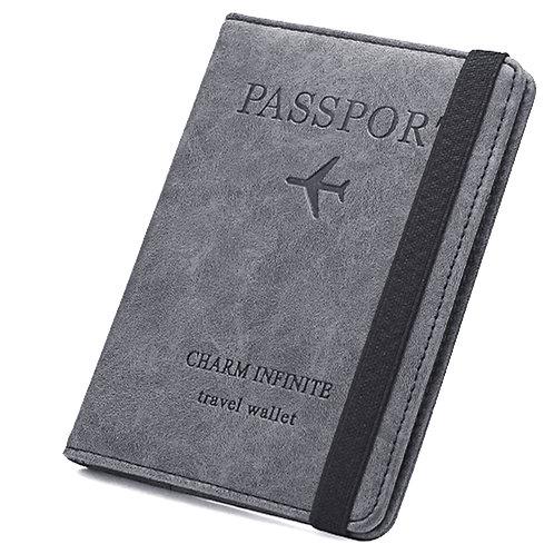 皮質護照夾 證件套 深灰色