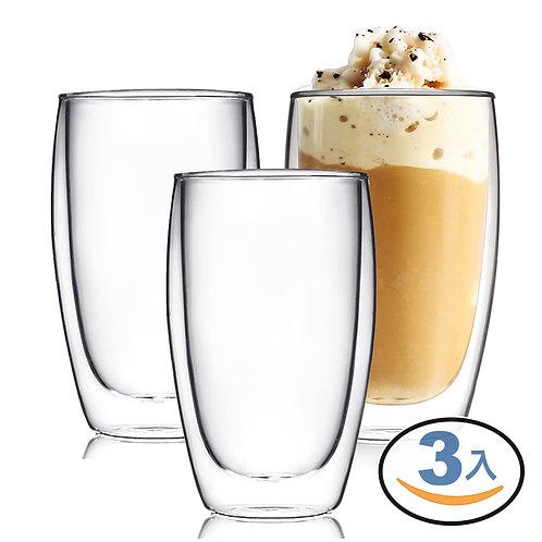 雙層隔熱玻璃杯 350mL 3入組 咖啡杯 茶杯