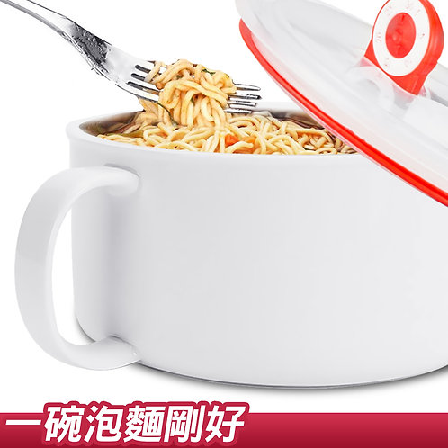 純白陶瓷泡麵碗 附保鮮蓋 1000mL