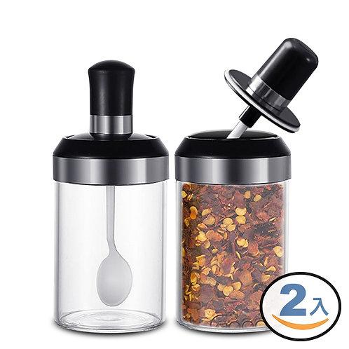 玻璃調味罐 附湯匙 250mL 2入組