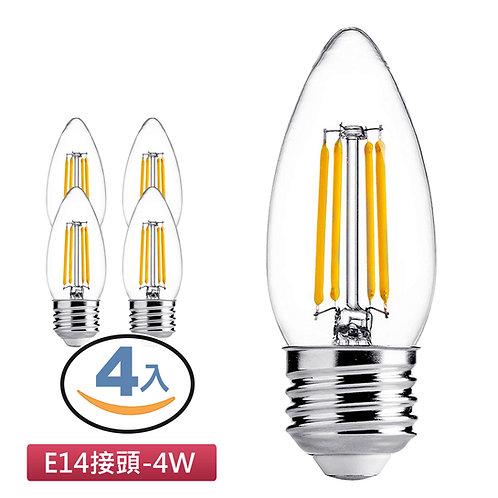 LED愛迪生蠟燭燈泡 黃光 4入 (E14接頭)